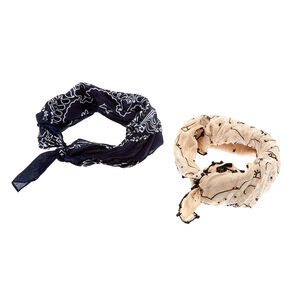 2-Pack Navy and Beige Neckerchiefs,