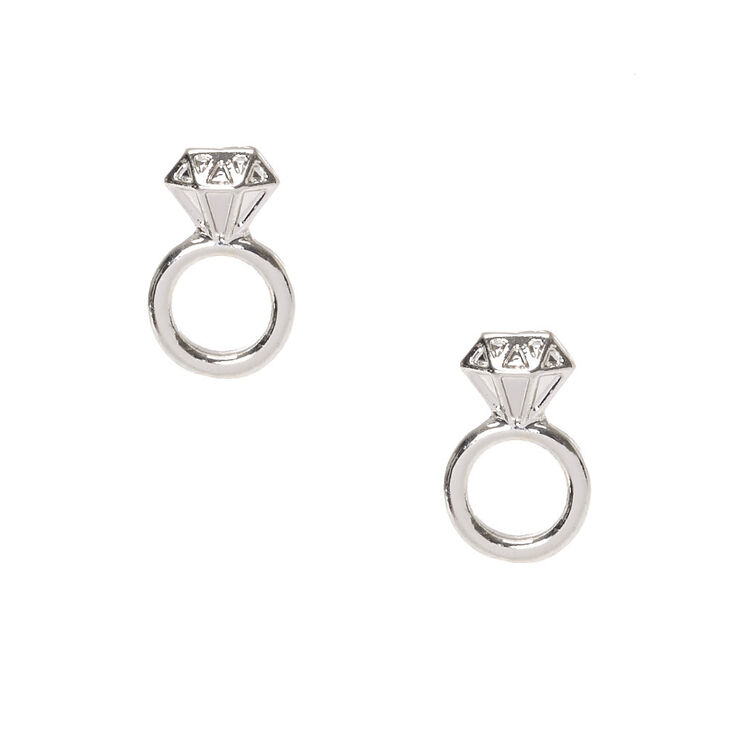 Silver Tone Diamond Engagement Ring Stud Earrings,