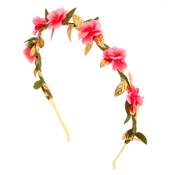 Gold & Pink Flower Headband,