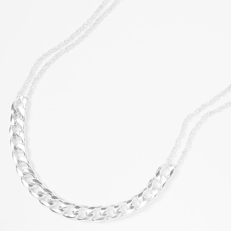 Silver Delicate & Chunky Chain Statement Necklace,
