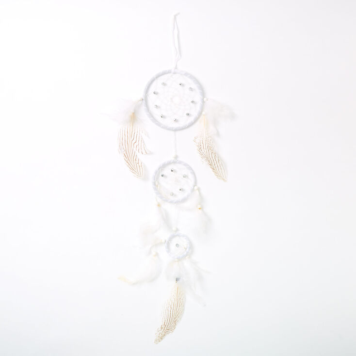 Tiered Stripe Feathers Dreamcatcher - White,
