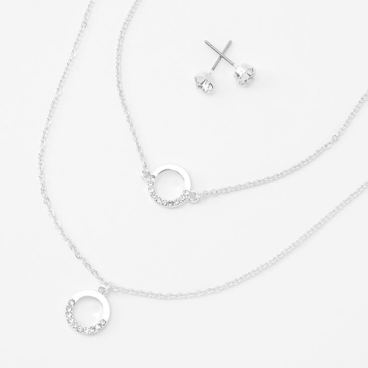 Silver Embellished Circle Jewelry Set - 3 Pack,