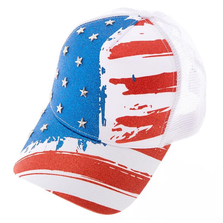 Glitter American Flag Baseball Hat,