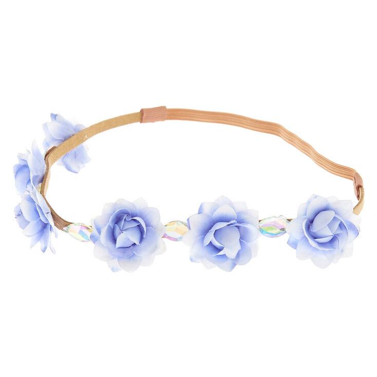 Blue & White Ombre Gem Flower Headwrap,