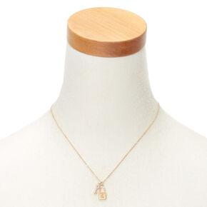 Gold Lock & Key Initial Pendant Necklace - Z,