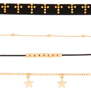 Gold Spiritual Choker Necklaces - Black, 5 Pack,