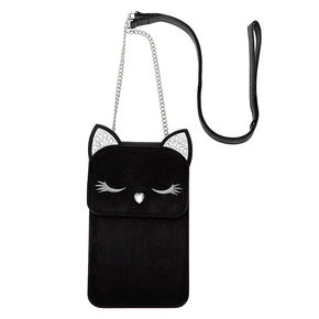 Embellished Cat Crossbody Phone Pouch,