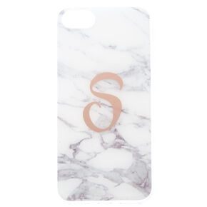 "Marbled ""S"" Initial Phone Case - White,"