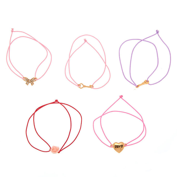 Romantic Paris Love Stretch Bracelets - Pink, 5 Pack,
