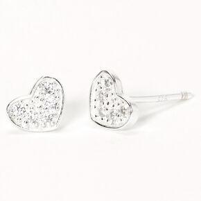 Sterling Silver Cubic Zirconia Crystal Pavé Heart Stud Earrings,
