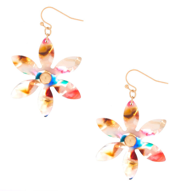 "2"" Resin Painted Flower Drop Earrings,"