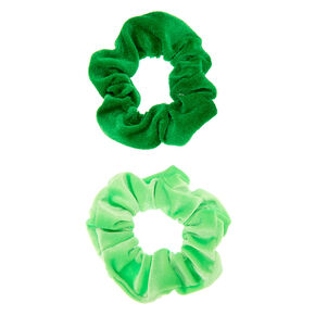 Velvet Hair Scrunchies - Green, 2 Pack,