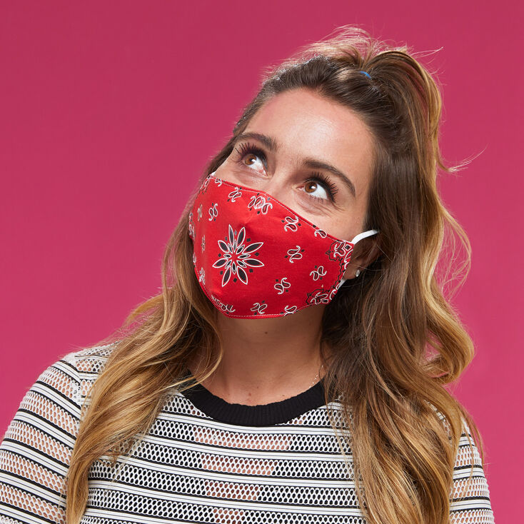 Cotton Red Bandana Print Face Masks - Adult,