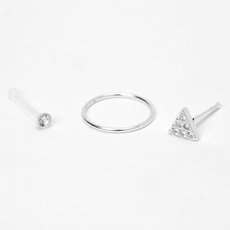 Sterling Silver 22G Crystal Triangle Nose Rings - 3 Pack,