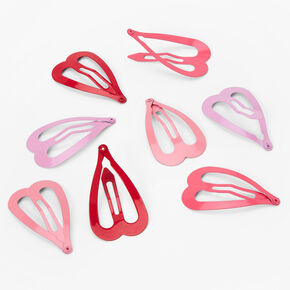 Pink, Purple & Red Heart Snap Hair Clips - 8 Pack,