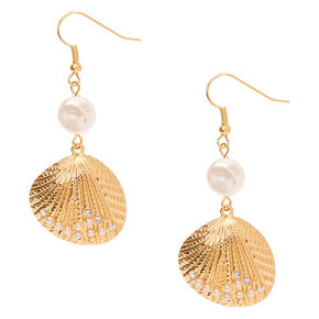 "Gold 2"" Pearl Shell Drop Earrings,"
