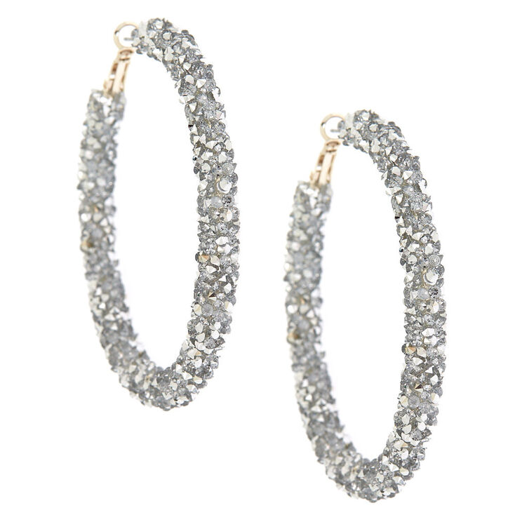 Silver 60MM Crystal Hoop Earrings,