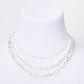 Silver Pearl Chain Multi Strand Necklace,