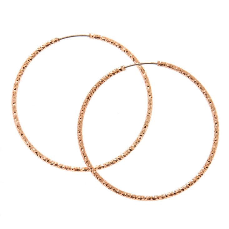40MM Rose Gold-toned Sandblasted Hoop Earrings,