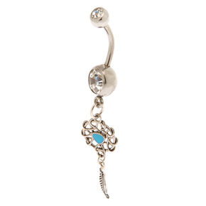 Silver 14G Twisted Dreamcatcher Belly Ring - Turquoise,