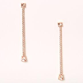 """Rose Gold 3"""" Rhinestone Teardrop Linear Drop Earrings,"""