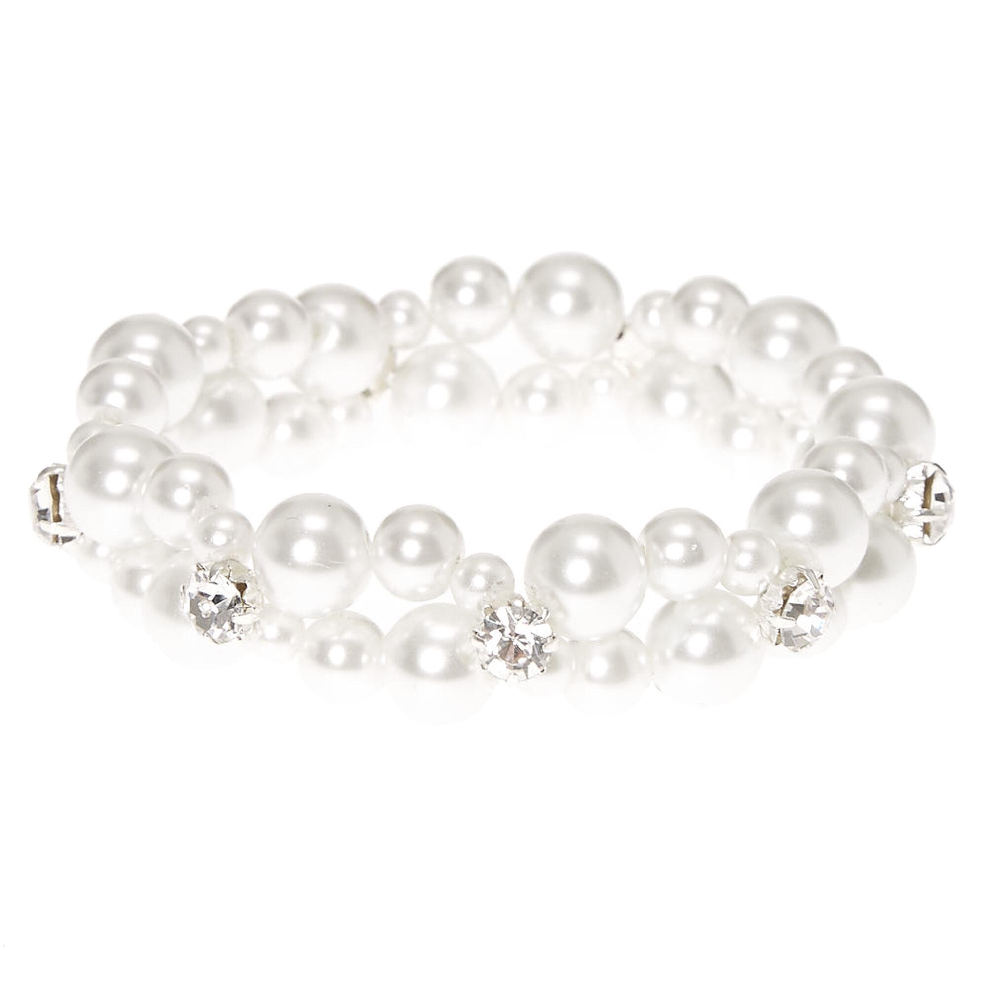 eda82b40a9443 Double Row Faux White Pearl Bracelet