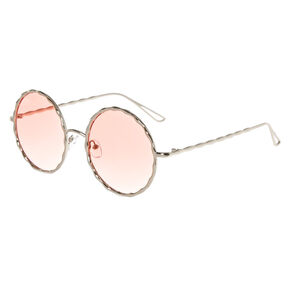 Round Silver Textured Sunglasses,