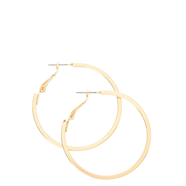 Squared Gold Hoop Earrings,