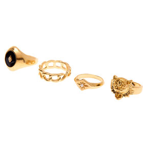 Gold Lion Rings - 4 Pack,