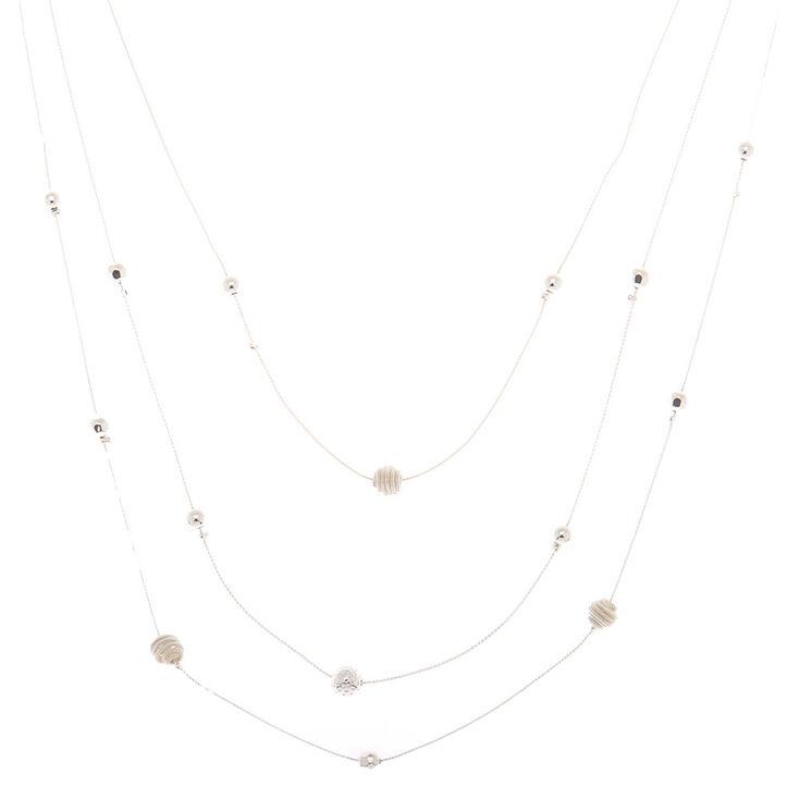 Silver Ball Multi Strand Necklace,