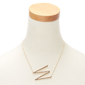 Oversized Initial Pendant Necklace - W,