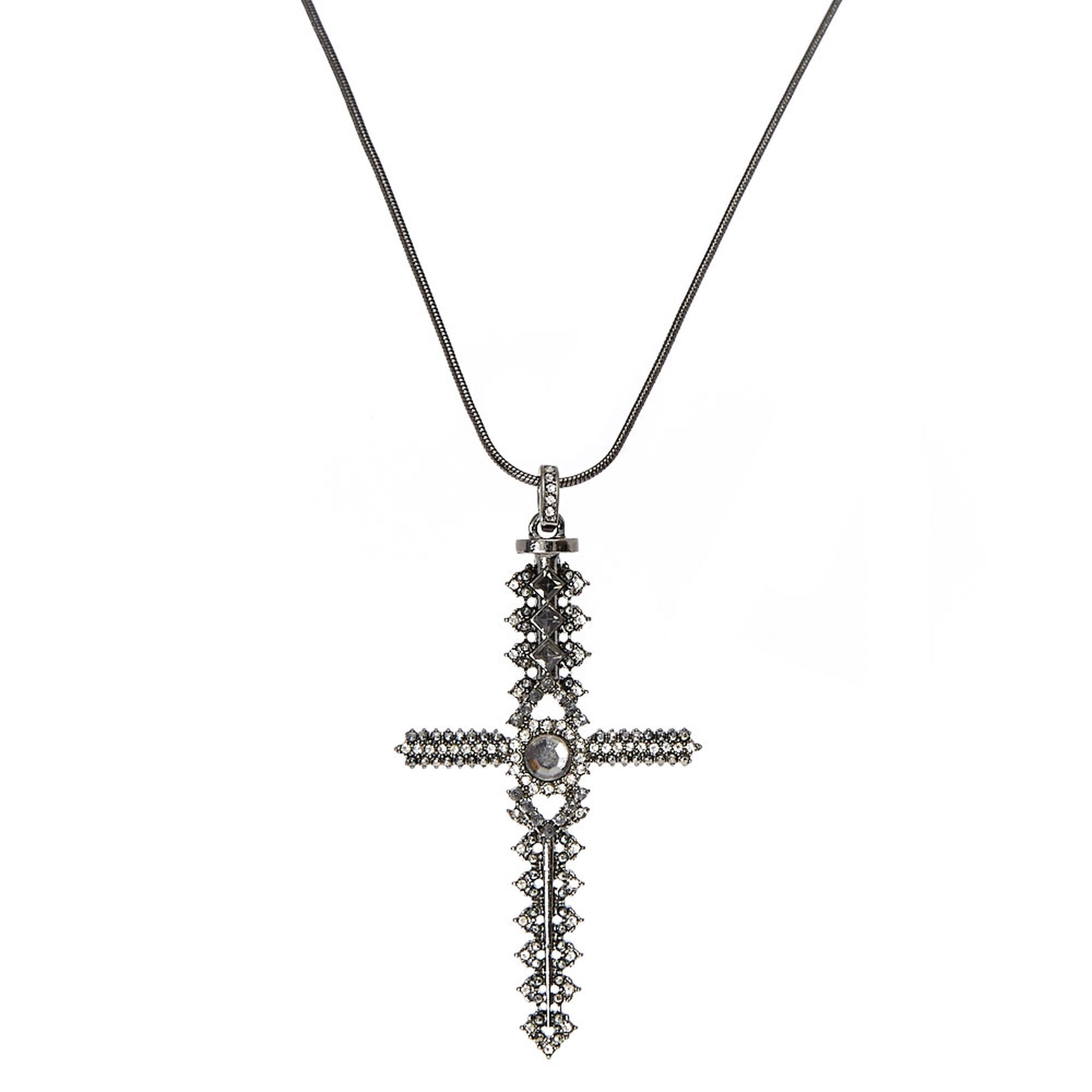 Gothic crystal hematite cross necklace icing us gothic crystal hematite cross necklace aloadofball Gallery