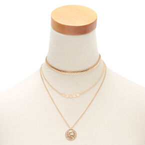 fdc4b2825 Gold Antique Coin Multi Strand Choker Necklace