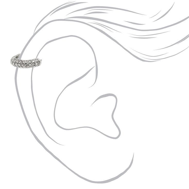 Silver 18G Paved Crystal Cartilage Hoop Earring,