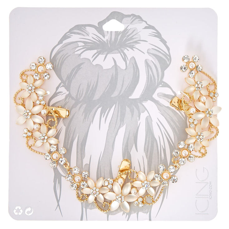 Frosted Crystal Flower Gold Tone Hair Swag,