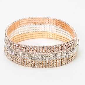 Mixed Metal Triple Row Rhinestone Stretch Bracelets - 3 Pack,
