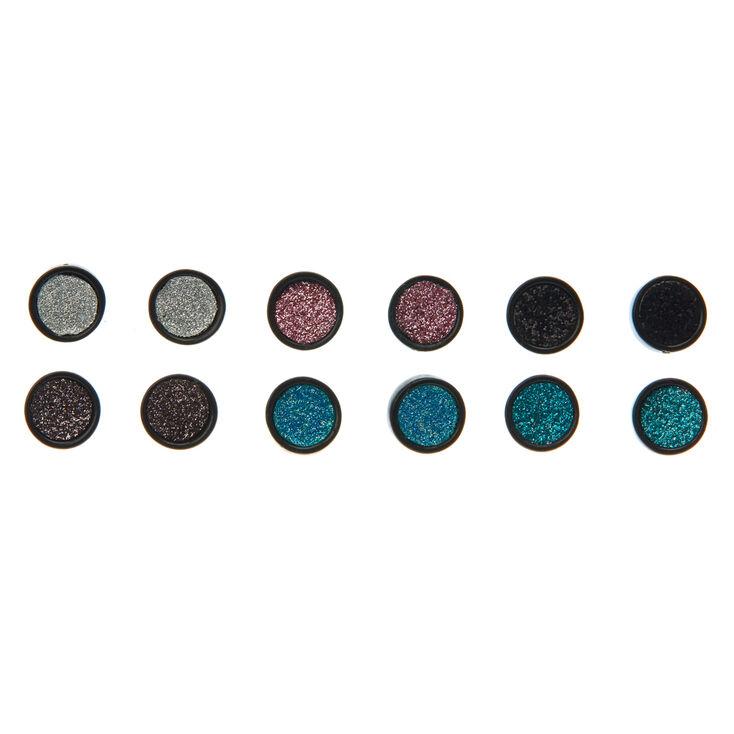 6 Pack Glitter Circle Stud Earrings,