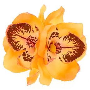 Large Orchid Hair Clip - Orange,