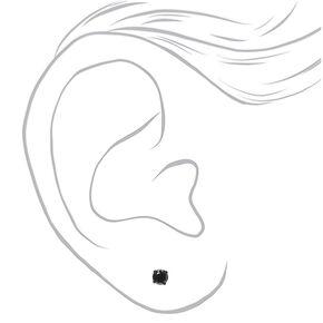 Black Cubic Zirconia 4MM Round Stud Earrings,