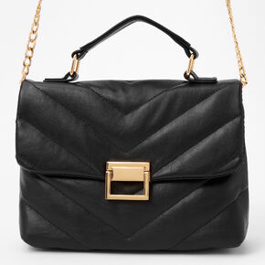 Chevron Quilted Satchel Bag - Black,