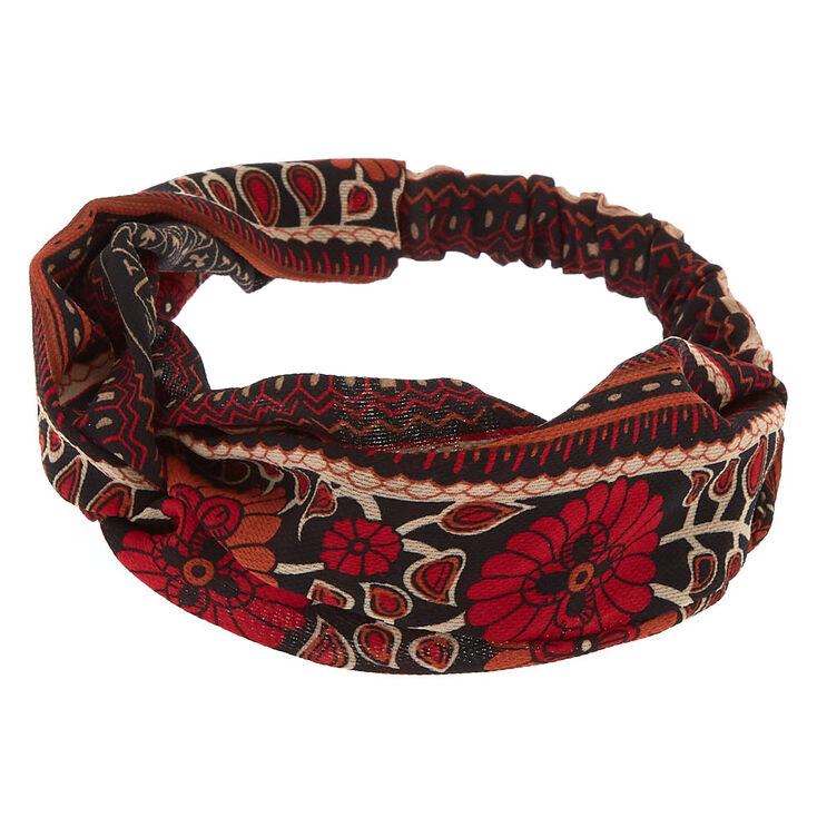 Aztec Floral Twisted Headwrap - Red,