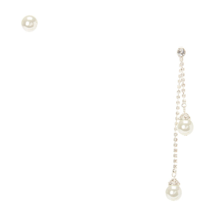 Pearl Mismatched Front Back & Stud Earrings,