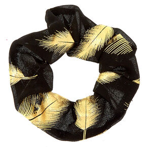 Gold Metallic Leaf Hair Scrunchie - Black,