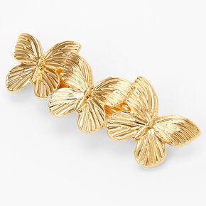 Gold Triple Butterfly Hair Barrette,