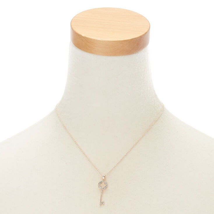 Rose Gold Rhinestone Key Pendant Necklace,