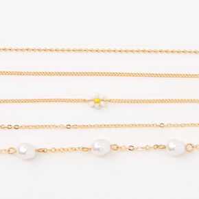 Gold Daisy & Pearl Chain Bracelets - 5 Pack,