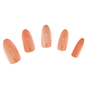 Metallic Nude Stiletto Instant Nails,