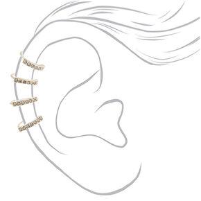 """Silver 1.5"""" Crystal Ear Cuff,"""