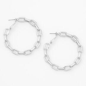 Silver 50MM Chain Link Hoop Earrings,
