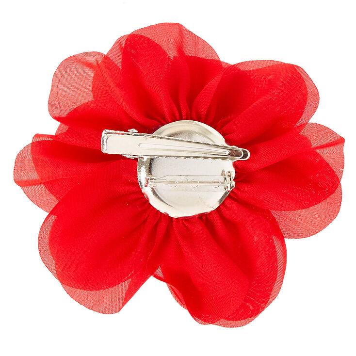 Red Chiffon Flower Hair Clip,